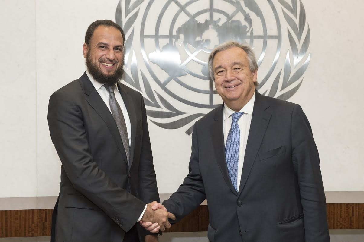 Office of the UN Secretary-General's Humanitarian Envoy, His Excellency Dr Ahmed Al-Meraikhi (Left) shaking hands with António Guterres, United Nations Secretary-General (Right)